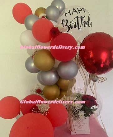 Custom made happy birthday metallic air filled balloons red gold silver with box of flowers