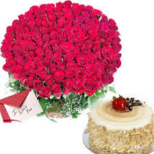 100 roses, 1 kg cake and card