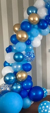 40 shades of blue gold white polka dot blue air blown small and large balloons arch style