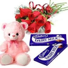 6 red roses with 6 inch Teddy and 2 chocolates