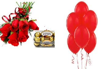 6 red roses hand tied with 12 red air balloon and 16 ferrero rocher chocolates