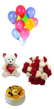 8 Air balloons 6 inch Teddy 1/2 Kg Fruit cake 10 Red white roses