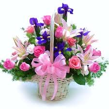 Roses pink pink lilies and orchids basket