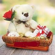 16 ferrero chocolate with teddy 1 feet and 1 red rose in same basket