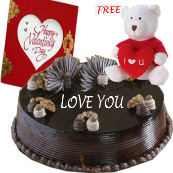 1 kg chocolate cake, Teddy and Card