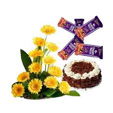 15 gerberas basket with 5 silk chocolate and 1/2 kg chocolate cake