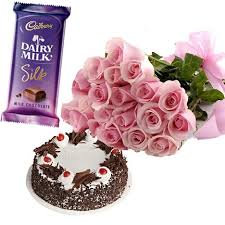 1 silk chocolate 1/2 kg black forest 12 roses bunch