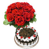 6 red roses with 1 kg black forest cake