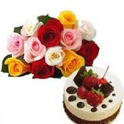 18 mix roses flowers with 1 kg cake