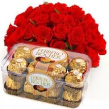 20 red roses 16 ferrero rocher box