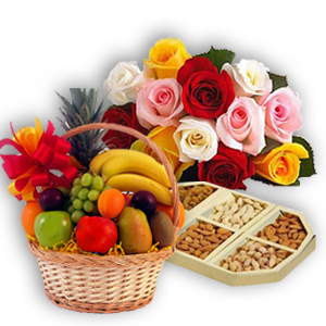 12 Mix Roses Bunch 2 Kg Fresh fruits basket with 1/2 Kg Dry fruits
