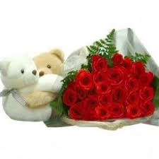 2 teddy bears 6 inch each with 20 red roses bunch