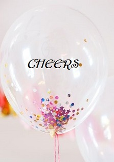 one bobo clear balloon with cheers printed on balloon