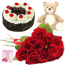 12 red roses with 6 inch Teddy and Half Kg black forest cake