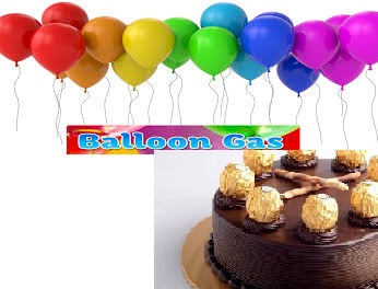 Bouquet of 30 gas filled balloons with 1 kg cake