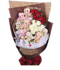 9 teddies with 12 red roses 8 white roses in same bouquet