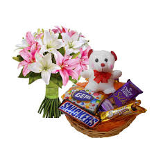 5 lilies hand bunch with teddy and chocolates basket