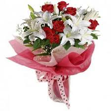 white lilies with red roses bouquet