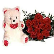 Teddy 6 inches With 12 Red Roses