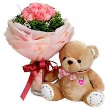 Teddy 6 inches With 12 Roses