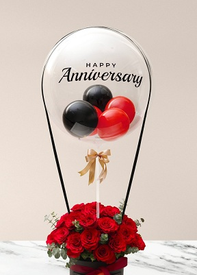 Happy transparent printed transparent balloon with 4 black and red balloons and 20 red roses arrangement