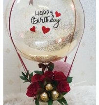 5 ferrero chocolate 5 roses with happy birthday printed balloon