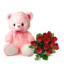 Teddy bear 12 inches in pink with 12 red roses bouquet